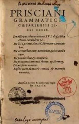 Prisciano (siglo V) Divisiones: ortografía, sintaxis, prosodia y etimología.