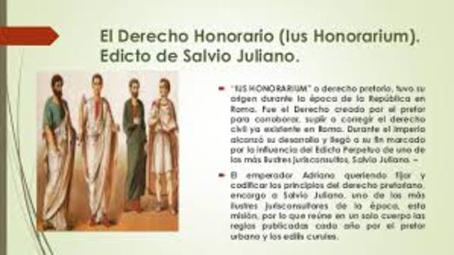 """Edicto de Salvio Juliano """"codificación del derecho pretoriano"""""""