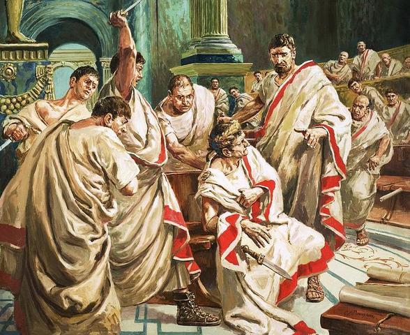 El dictador Julio César es asesinado víctima de un complot.