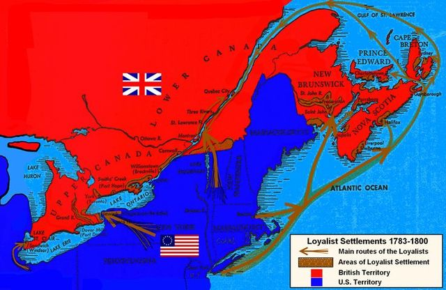 Loyalists emigrate to Quebec