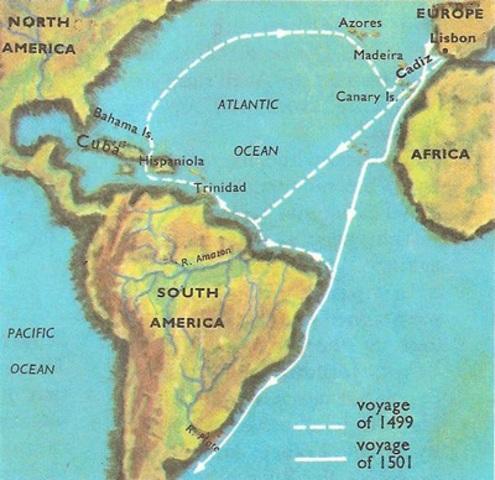 Vespucci Lands in South America
