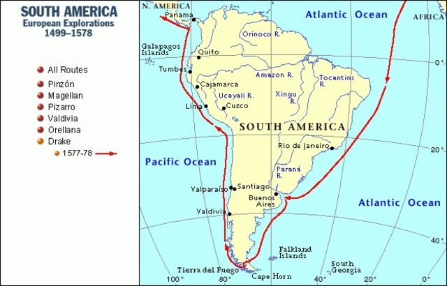 Magellan Reaches South America