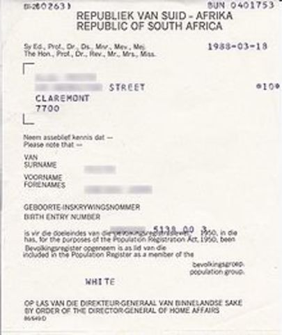 1950 Population Registration Act No 30