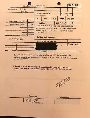 Lloyd McGowan Psychiatric Admission to LF O'Brien Asylum
