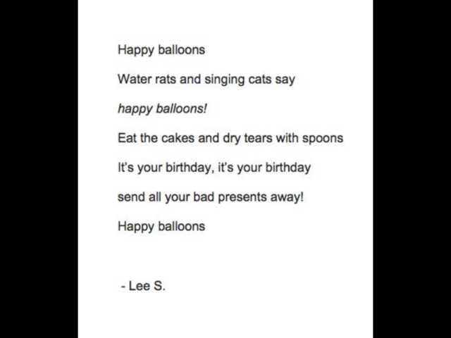 Post On Facebook Announcing Poetry Contest Winners - Lee's Poem