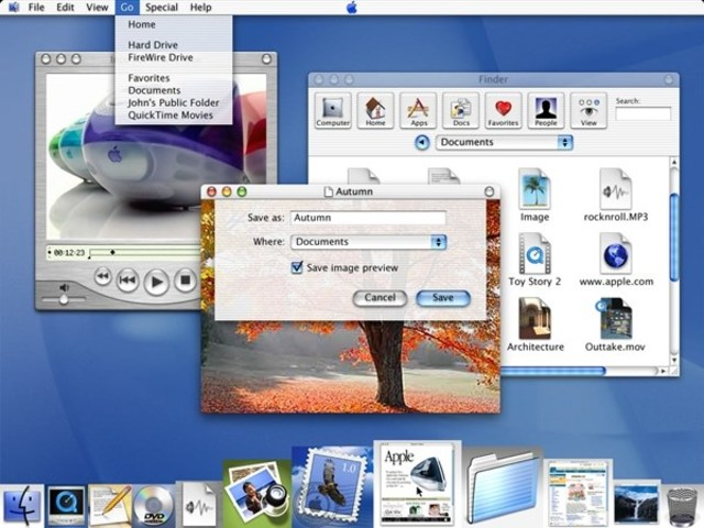 Interface Aqua, lançada pela Apple com o Mac OS X.