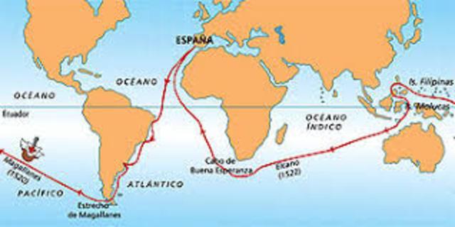 Magallanes y el cano dan la primera vuelta al mundo