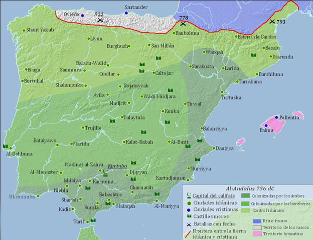 711 AD Islamic Empire conquered most of the of the Iberian Peninsula