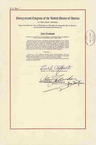 Twenty-sixth Amendment to the Constitution of the United States Ratified