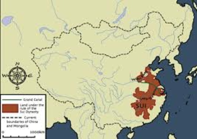Sui dynasty in China is formed