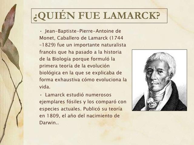 El evolucionismo según Lamarck