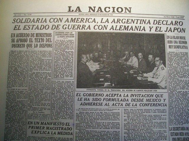Argentina le declara la guerra a Japón y Alemania