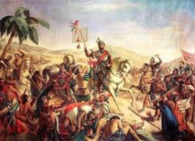 Hernando Cortes and his forces overthrew the Aztec Empire