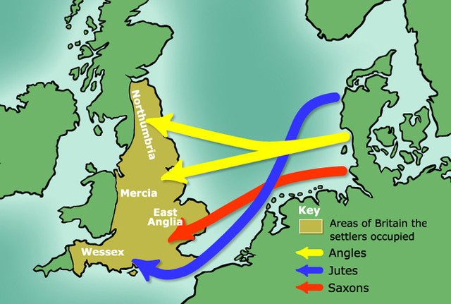 Angles, Saxons and Jutes arrive in south east Britain