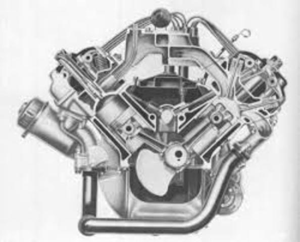 Fabricaion en serie del motor de ocho cilindros en V.