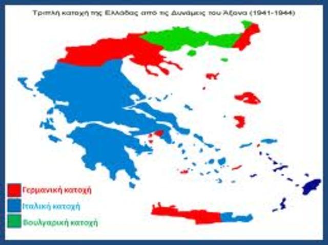 Η Ελλάδα χωρίζεται σε τρεις ζώνες Κατοχής (γερμανική - ιταλική - βουλγαρική)