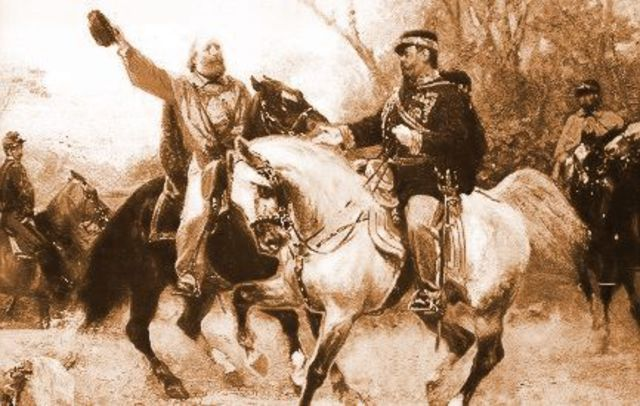 GARIBALDI CONSEGNA A VITTORIO EMANUELE II I TERRITORI CONQUISTATI