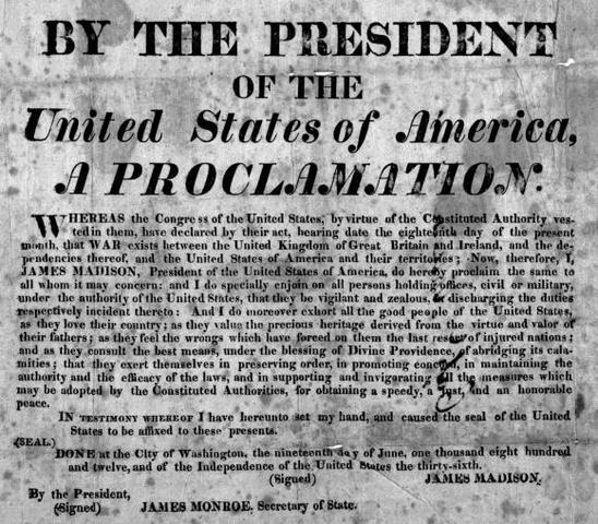 United States declares war on Britain