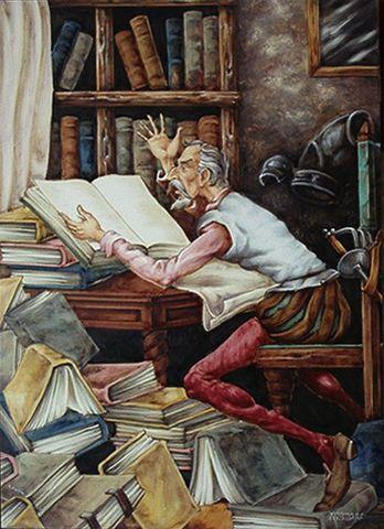 (1) El Quijote lee mucho