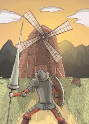 (8) El Quijote cree que molinos son gigantes