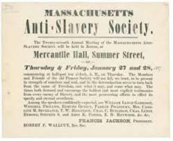 New England Anti-Slavery Society Founded