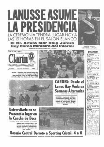 Destitución de Levingston y asunción a la presidencia de Lanusse