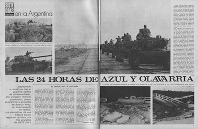 Levantamiento militar en Azul y Olavarría