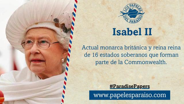 "Se revela que la reina Isabel II de Inglaterra esta involucrada en el caso ""paradise papers"""