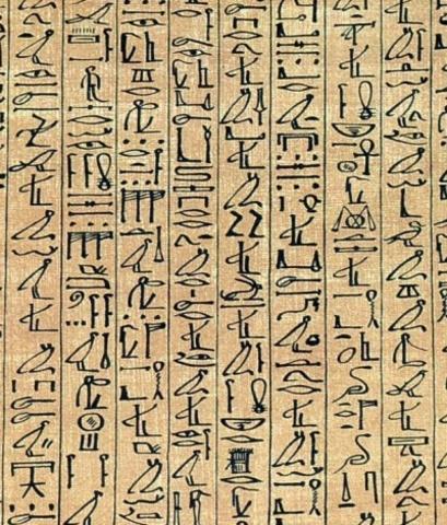 Schrijver met papyrusrol.