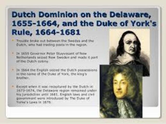 Duke of York's Laws introduced for English laws, civil government