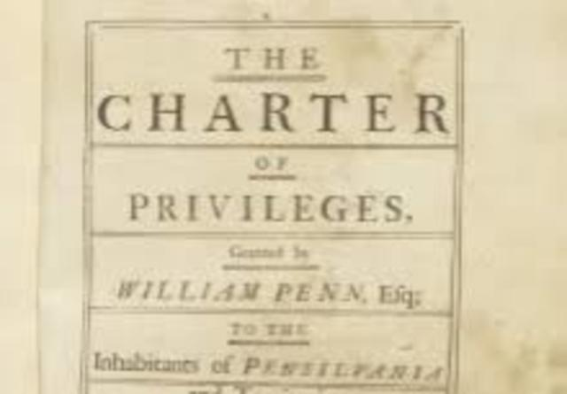 Penn presented Charter of Privileges for Province of Pennsylvania; established religious freedom, tolerance. Remained as constitution until American Revolution