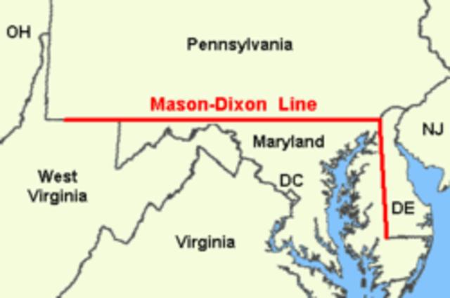 Boundary between Maryland, Pennsylvania established, named Mason-Dixon line