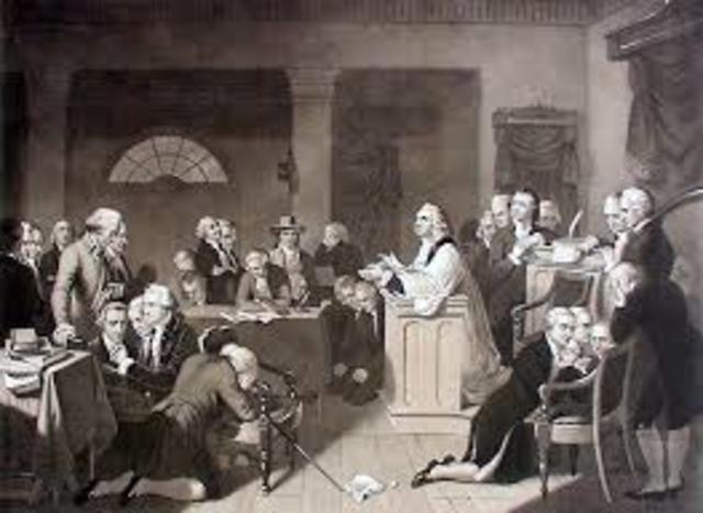 First Continental Congress met secretly in Philadelphia; protested British measures, taxes