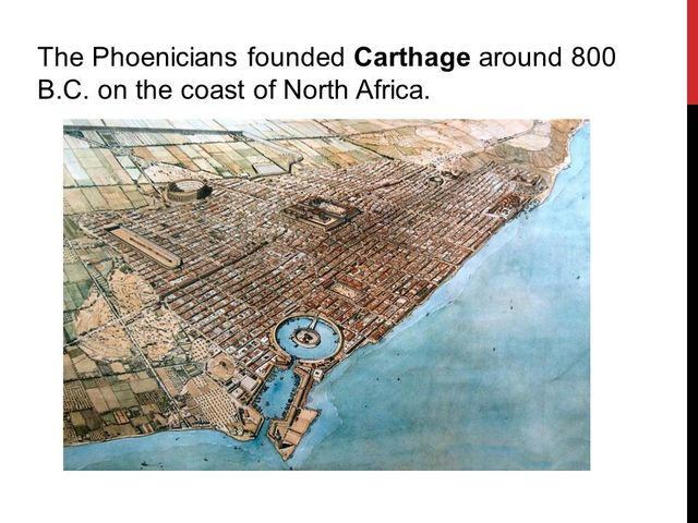 Phoenicians established Carthage on the north coast of Africa