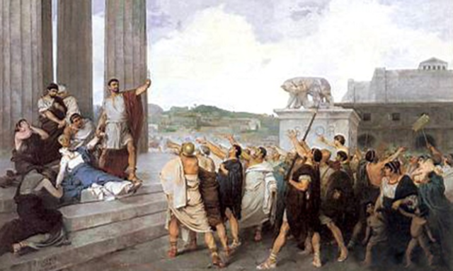 disputes between patricians (wealthy landowners who controlled the Senate) and plebeians (ordinary citizens)