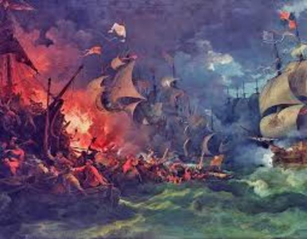 Philip II's Spanish Armanda was defeated by England.