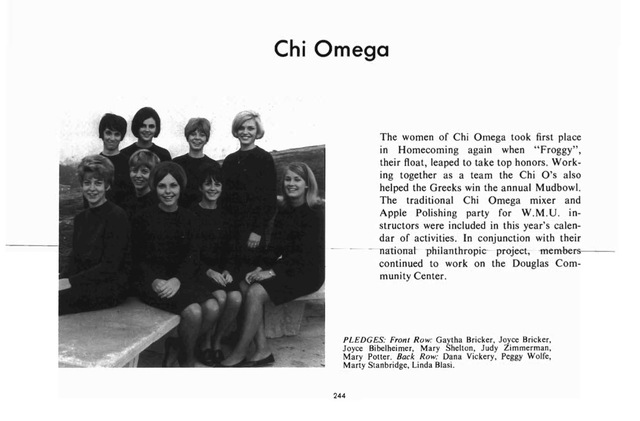 Chi Omega Participation in WMU Events Then