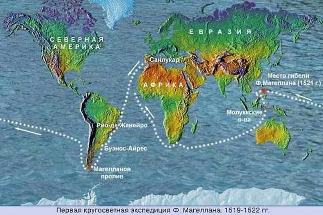 Проход из Атлантического океана в Тихий.     (Ф. Магеллан)