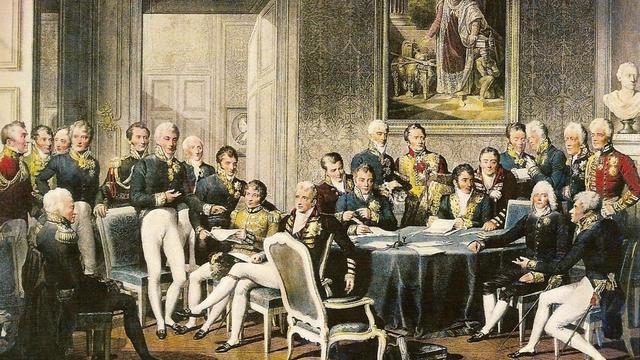 Reunión del Congreso de Vienna para la reestructuración del mapa de Europa