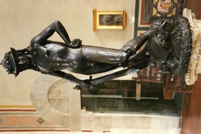 Iconic bronze David made by sculptor Donatello (greatest of early Renaissance sculptors)