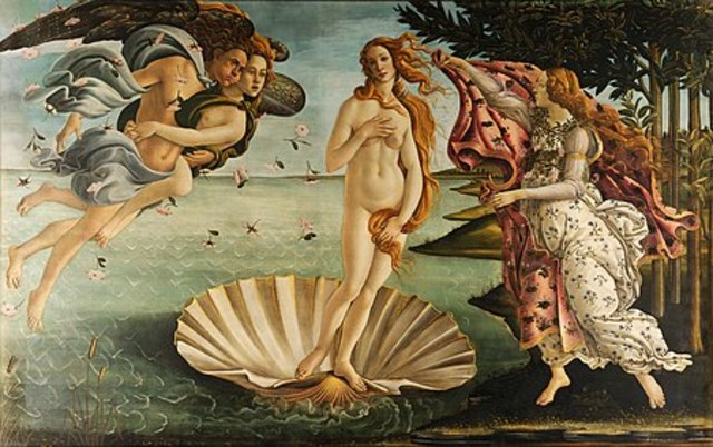 Famous mythological painting: The Birth of Venus by Sandro Botticelli