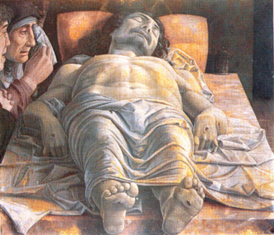 Famous example of linear perspective: Lamentation Over the Dead Christ by Mantegna