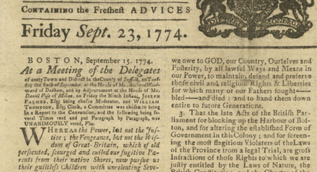 The Coercive Intolerable Acts of 1774