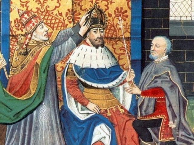 Carlomagno es coronado emperador por el papa León III.
