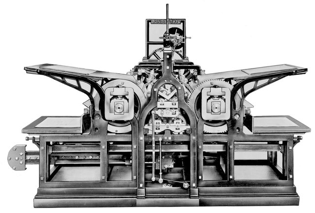 Development of steam powered cylinder press.