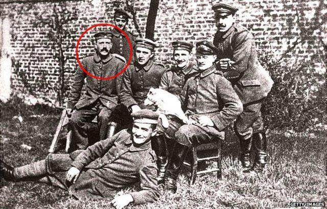 Adolf Hitler is a German soldier in World War I