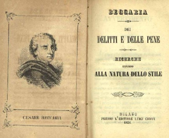 Cesare Beccaria published On Crimes and Punishments.