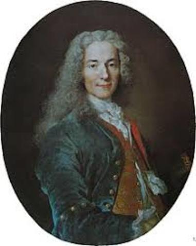 Francois-Marie Arouet changing his name to Voltaire and goes on to champion individual freedoms.