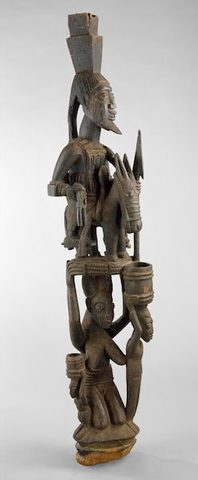 Veranda Post: Female Caryatid and Equestrian Figure