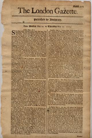 NEWSPAPER: THE LONDON GAZETTE
